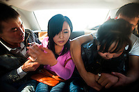 Farida, 20 (left), struggles with Tyhchtykbek who has forced her and a friend into the back of a car with the intention of kidnapping her and forcing her to marry him. She screams at him: 'I am going to marry you. Just leave me now.' Although illegal, bride kidnapping is common in rural parts of Kyrgyzstan. Although illegal, bride kidnapping is common in rural parts of Kyrgyzstan. Each year around 16, 000 women become married after being kidnapped. They are known as 'Ala Kachuu' that translates as 'to grab and run away'. Defenders of the continuation of the practice sight tradition. However, during Soviet Times it was rare, and parents generally arranged marriages..