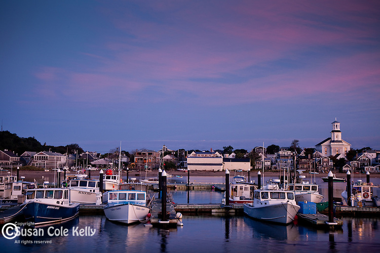 Dawn greets the fishing fleet in Provincetown, Cape Cod, MA, USA