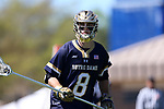 DURHAM, NC - APRIL 08: Notre Dame's Pat Healy. The Duke University Blue Devils hosted the University of Notre Dame Fighting Irish on April 8, 2017, at Koskinen Stadium in Durham, NC in a Division I College Men's Lacrosse match. Duke won the game 11-8.
