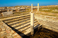 The Minoan Fountain in the ruins of the Greek city of Delos, the birthplace of the twin gods Apollo and Artemis. Greek Cyclades Islands.