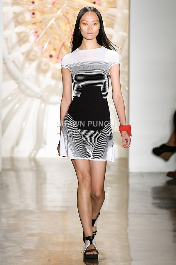 Li walks runway in an outfit from the Ohne Titel Spring Summer 2013 collection by Alexa Adams and Flora Gill, during Milk Made Fashion Week Spring 2013 in New York City.