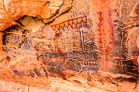 Rock art in Nevada Mountains, Brownstone Canyon Archaeological District, Polychromatic Pictographs from ancient native Americans Near Las Vegas