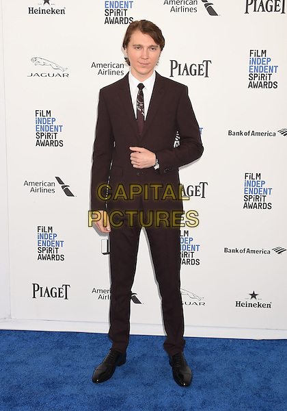 SANTA MONICA, CA - FEBRUARY 27: Actor Paul Dano arrives at the 2016 Film Independent Spirit Awards on February 27, 2016 in Santa Monica, California.<br /> CAP/ROT/TM<br /> &copy;TM/ROT/Capital Pictures