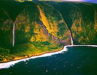 Falls Tumbling into Ocean, Kohala Coast, Big Island of Hawaii