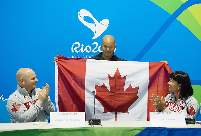 RIO DE JANEIRO - 6/9/2016:  David Eng of Wheelchair Basketball is named the opening ceremonies flag bearer at the Paralympic Village at the Rio 2016 Paralympic Games. (Photo by Matthew Murnaghan/Canadian Paralympic Committee