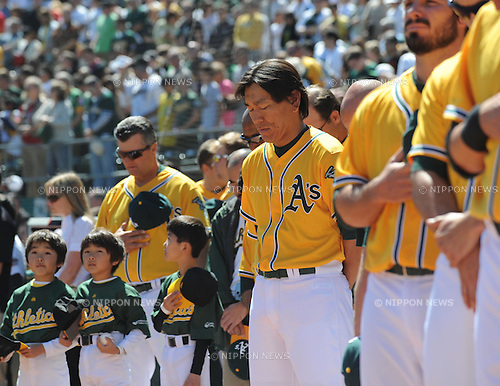 Hideki Matsui (Athletics), APRIL 3, 2011 - MLB : Hideki Matsui of the Oakland Athletics observes a moment of silence before a game between the Seattle Mariners and the Oakland Athletics at Oakland-Alameda County Coliseum in Oakland, CA, USA. (Photo by AFLO).