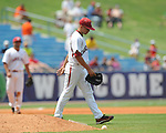 South Carolina pitcher John Taylor is hit by a batted ball vs. Mississippi during the Southeastern Conference tournament at Regions Park in Hoover, Ala. on Wednesday, May 26, 2010. Ole Miss won 3-0.
