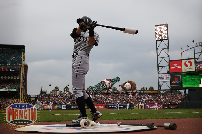 SAN FRANCISCO - JULY 10:  Ichiro Suzuki of the Seattle Mariners and American League warms up before the All Star Game against the National League at AT&T Park in San Francisco, California on July 10, 2007.  Photo by Brad Mangin
