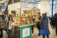 Seed+Mill halvah kiosk in the new Whole Foods Market opposite Bryant Park in New York on opening day Saturday, January 28, 2017. The store in Midtown Manhattan is the chain's 11th store to open in the city. The store has a large selection of prepared foods from a diverse group of vendors inside the store.  (© Richard B. Levine)