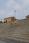 Philadelphia Museum of Art, running up Rocky steps in front..Philadelphia, Pennsylvania, PA USA.  Photo copyright Lee Foster, 510-549-2202, lee@fostertravel.com, www.fostertravel.com.  Photo 219-30409