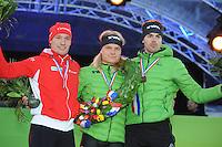 SCHAATSEN: AMSTERDAM: Olympisch Stadion, 02-03-2014, KPN NK Sprint/Allround, Coolste Baan van Nederland, eindpodium Heren Allround, Renz Rotteveel, Koen Verweij, Wouter olde Heuvel, ©foto Martin de Jong