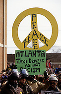 Georgia, Forsyth County, Cumming, 14th, January, 1987. 20,000 people on protest march against racism. Police present.