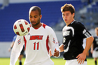 Aaron Horton (11) of the Louisville Cardinals. The Louisville Cardinals defeated the Providence Friars 3-2 in penalty kicks after playing to a 1-1 tie during the finals of the Big East Men's Soccer Championship at Red Bull Arena in Harrison, NJ, on November 14, 2010.