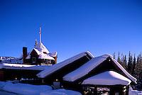 Snow Covered Deer Lodge at Lake Louise, Banff National Park, Alberta, Canada - Winter