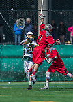 18 April 2015:  University of Vermont Catamount Goaltender Justin Rosenberg, a Junior from Boyds, MD, passes upfield during play against the University of Hartford Hawks at Virtue Field in Burlington, Vermont. The Cats defeated the Hawks 14-11 in the final home game of the 2015 season. Mandatory Credit: Ed Wolfstein Photo *** RAW (NEF) Image File Available ***