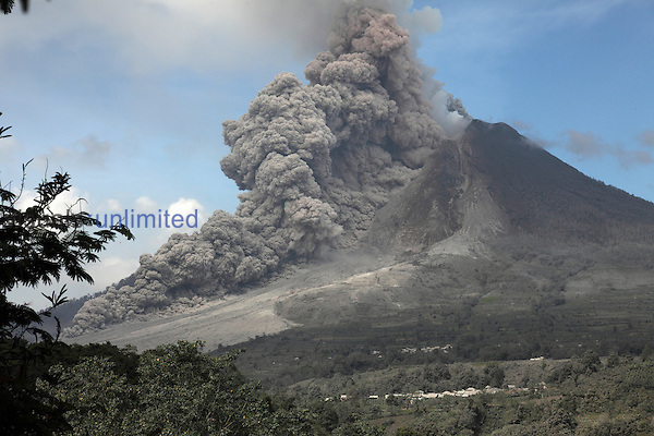 Pyroclastic flow descending flank of Sinabung Volcano, Sumatra, Indonesia