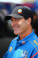 Aug 19, 2016; Brainerd, MN, USA; NHRA funny car driver Ron Capps during qualifying for the Lucas Oil Nationals at Brainerd International Raceway. Mandatory Credit: Mark J. Rebilas-USA TODAY Sports