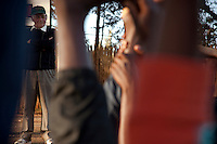 Young athletes train under Brother Colm O'Connell ina  session of his  sports development program at St. Patrick's Secondary School in Iten, Kenya.  His program  aims to develop atheltes as whole  people. Over 100 of his trainees have become world class runners.