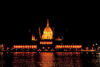 Old lights illuminate the Hungarian Parliament before the reconstruction of the light system in Budapest, Hungary on August 13, 2011. ATTILA VOLGYI