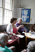 Members of the Chapel Hill WILPF gather at Friend's Meeting House to plan for the Triennial WILPF National Congress at UNC-CH, Saturday, May 14, 2011.