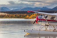 De havilland beaver along the shore of Naknek lake in Katmai National Park, southwest, Alaska.
