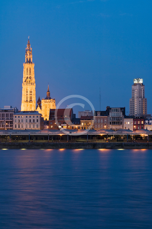 Belgium, Antwerp, Cathedral of Our Lady, Onze Lieve Vrouwekathedraal, and River Schelde