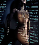 Beautiful nude woman standing against a wall at night in light coming through window blinds. Photorealistic 3D illustration.