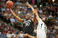 DENVER, CO--Nneka Ogwumike scores two against Baylor during the semifinals of the 2012 NCAA Women's Final Four in Denver, CO. The Cardinal fell to the Bears 47-59.