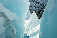 Ice feature on Franz Josef Glacier in winter, Westland Tai Poutini National Park, West Coast, UNESCO World Heritage Area, South Westland, New Zealand, NZ