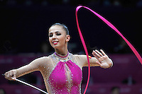 August 10, 2012; London, Great Britain;  DARIA DMITRIEVA of Russia performs with ribbon on day 2 of rhythmic gymnastics qualifying at London 2012 Olympics.