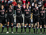 New Mexico starters. From left David Gualdarama, Josh Brown, Matt Wootton, Erik Bagwell, Andrew Boyens, and Ben Ashwill. The University of Maryland Terrapins defeated the University of New Mexico Lobos 1-0 in the Men's College Cup Championship game at SAS Stadium in Cary, NC, Friday, December 11, 2005.