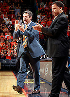 CHARLOTTESVILLE, VA- DECEMBER 6: Head coach Tony Bennett of the Virginia Cavaliers and Virginia Cavaliers associate head coach Ritchie McKay react to a play during the game on December 6, 2011 against the George Mason Patriots at the John Paul Jones Arena in Charlottesville, Virginia. Virginia defeated George Mason 68-48. (Photo by Andrew Shurtleff/Getty Images) *** Local Caption *** Ritchie McKay;Tony Bennett