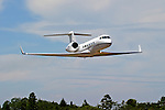 N308AB, a Gulfstream Aerospace model Gulfstream IV makes a fly by at the Nevada County Airport during the 2005 Nevada County Airfest. The Gulfstream IV was first introduced in 1987 and production ceased in 2003.