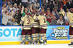 07 APR 2012:  Johnny Gaudreau (13) of Boston College celebrates after scoring a goal against Ferris State University during the Division I Men's Ice Hockey Championship held at the Tampa Bay Times Forum in Tampa, FL.  Boston College defeated Ferris State 4-1 to win the national title.  Matt Marriott/NCAA Photos