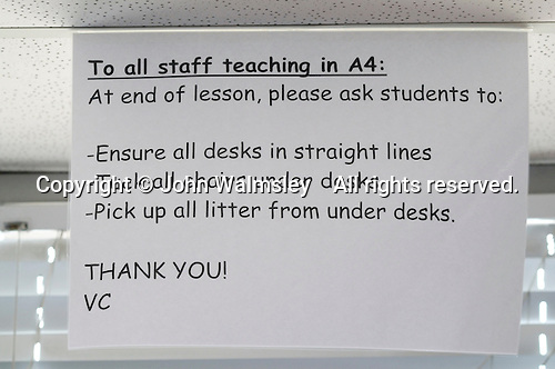Notice to any staff teaching in this room, state secondary school