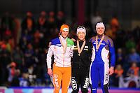 SCHAATSEN: HEERENVEEN: Thialf, Essent ISU World Single Distances Championships, 25-03-2012, Podium 500m Men, Michel Mulder (NED), Tae-Bum Mo (KOR), Pekka Koskela (FIN), ©foto Martin de Jong