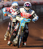 Jason Doyle (white) and Robert Mear (blue) - Lakeside Hammers vs Swindon Robins at the Arena Essex Raceway, Pufleet - 18/06/12 - MANDATORY CREDIT: Rob Newell/TGSPHOTO - Self billing applies where appropriate - 0845 094 6026 - contact@tgsphoto.co.uk - NO UNPAID USE..