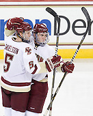 Philip Samuelsson (BC - 5) and Pat Mullane (BC - 11) celebrate Mullane's third period power play goal which finished scoring in the game. - The Boston College Eagles defeated the visiting University of Maine Black Bears 4-0 on Friday, November 19, 2010, at Conte Forum in Chestnut Hill, Massachusetts.