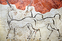 Minoan Fresco wall painting of goats from Minoan Bronze Age settlement  of Akrotiri on the Greek island of Thira, Santorini, Greece.. Athens Archaeological Museum.