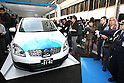 Apr. 26 - Tokyo, Japan - The world's first switchable-battery electric taxi rolls out from a battery changing station in Tokyo on April 26, 2010. Global electric vehicle service provider Better Place demonstrated the taxi with the Japanese Ministry of Economy, Trade, and Industry, and Tokyo's largest taxi operator Nihon Kotsu.