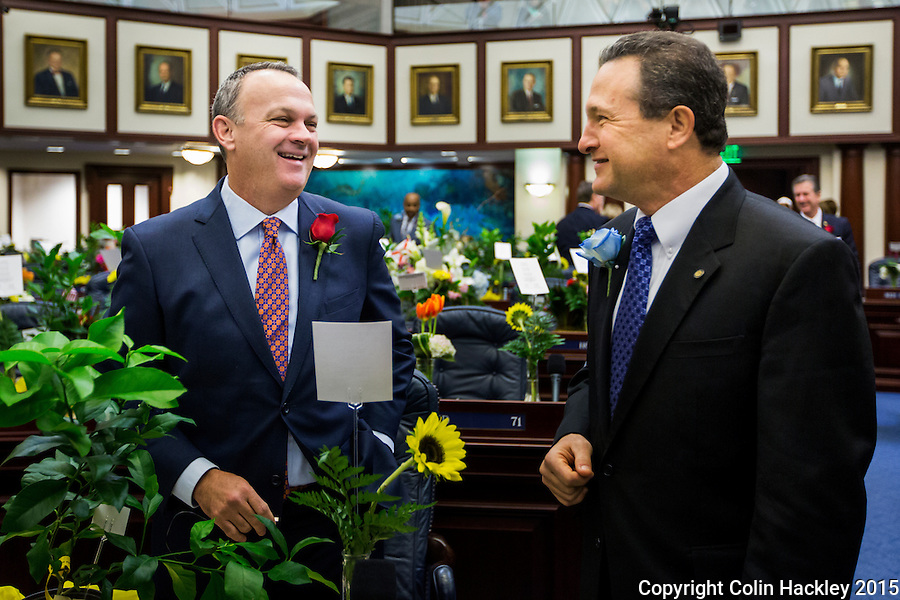 TALLAHASSEE, FLA. 1/12/16-Rep. Richard Corcoran, R-Land O'Lakes, left talks with Rep. Mark Pafford, D-West Palm Beach, prior to the start of the State of the State address at the Capitol in Tallahassee. <br /> <br /> COLIN HACKLEY PHOTO