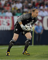 USA goalkeeper Brad Guzan (18) scoops up the ball. In the Send Off Series, the Czech Republic defeated the US men's national team, 4-2, at Rentschler Field in East Hartford, Connecticut, on May 25, 2010.