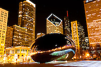 "Chicago Cloud Gate sculpture at night, also known as ""The Bean"" for its bean shape. Cloud Gate is located in Millennium Park in Grant Park in the downtown Chicago Loop. In February 2012 a light show named Luminous Field was added."