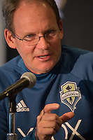 Toronto, ON, Canada - Thursday Dec. 08, 2016: Brian Schmetzer during a press conference prior to MLS Cup at the Kia Training Grounds.