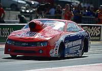 Sept. 14, 2012; Concord, NC, USA: NHRA pro stock driver Shane Gray during qualifying for the O'Reilly Auto Parts Nationals at zMax Dragway. Mandatory Credit: Mark J. Rebilas-