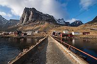 View from jetty of small village of Kjerkfjord - Kierkefjord, only reached by boat, Moskenesøy, Lofoten Islands, Norway
