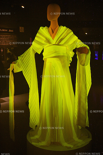 "A traditional kimono made with fluorescent silk at the ""Hikari The Wonder of Light"" exhibition on November 11, 2014, in Tokyo, Japan. The exhibition shows the wonder of light in space, the Earth and as used in human life. It is divided in three sections, Space, Earth and Human , and  shows the work of famous scientists such as Nobel award winner Fumitaka Wakabayashi who discovered ""the green fluoresent protein or GFP"" which is used in medicine and biology. The exhibition runs from October 28 to February 22, 2015. (Photo by Rodrigo Reyes Marin/AFLO)"