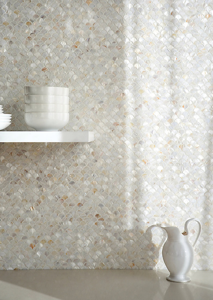 Scallops, shown in Shell is part of New Ravenna's Studio Line. All mosaics in this collection are ready to ship within 48 hours.<br /> <br /> For pricing, samples and design help, please contact a showroom near you : http://www.newravenna.com/showrooms/