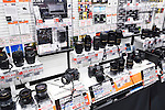 Sony cameras and lenses on display in electronics store Yodobashi Camera, Yodobashi-Akiba in Akihabara, Tokyo, Japan.