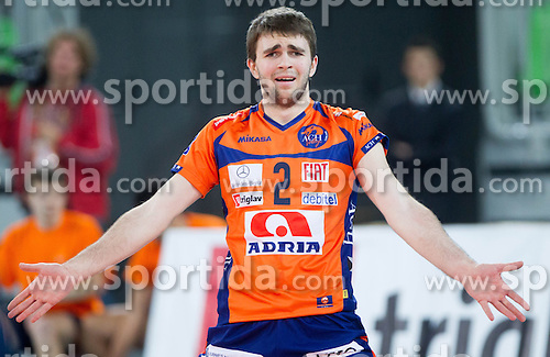 Uros Kovacevic of ACH during volleyball match between ACH Volley and Lube Banca Marche Macerata (ITA) in 5th Leg of Pool D of 2013 CEV Champions League on December 5, 2012 in Arena Stozice, Ljubljana, Slovenia. ACH defeated Macerata 3-1. (Photo By Vid Ponikvar / Sportida)